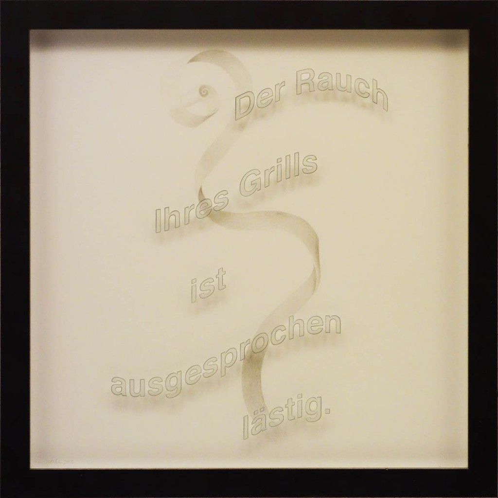 "Ken Aptekar, Der Rauch Ihres Grills, 2015, 60cm x 60cm, silverpoint on clay-coated paper (""The smoke from your barbecue is really annoying."")"