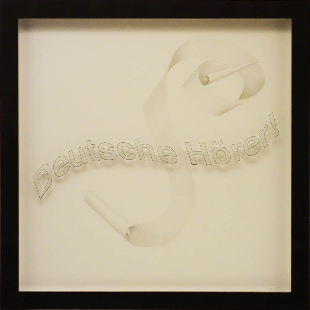 "Ken Aptekar, Deutsche Hörer! 2015, 60cm x 60cm, silverpoint on clay-coated paper (""Listen Up, Germans!"") Note: title of radio series against Hitler written by Lübeck author, Thomas Mann, and broadcast during WWII to Germany by the BBC in London"