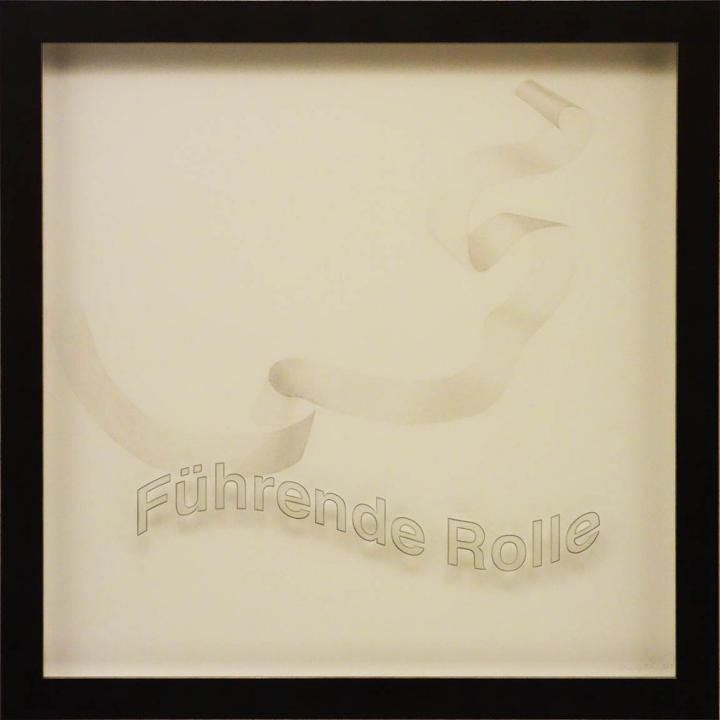 "Ken Aptekar, Führende Rolle, (""A Leading Role""), 60cm x 60cm (66cm x 66cm framed) silverpoint on claycoated paper"