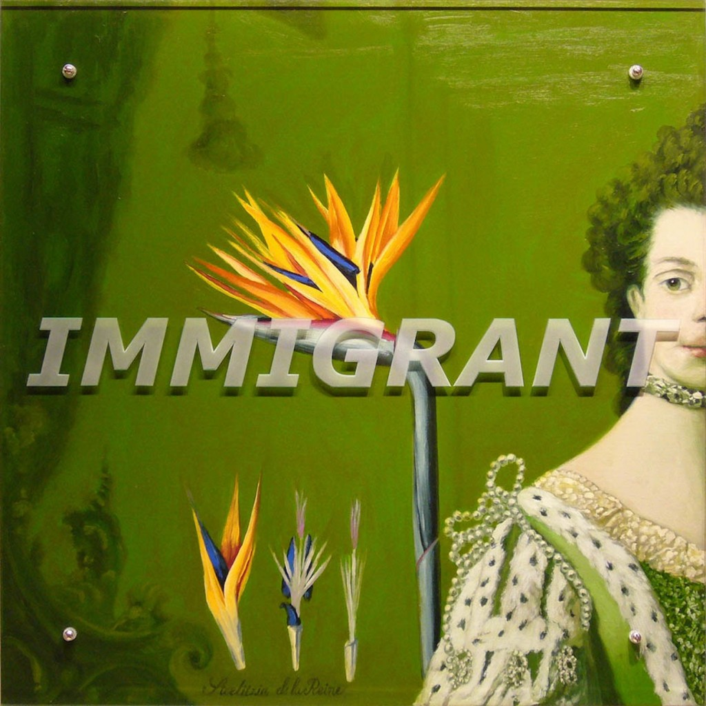 "Charlotte's Charlotte IMMIGRANT), 2009 36 "" x 36"" (91.4cm x91.4cm), oil on wood, sandblasted glass, bolts, after Sir Allan Ramsay, Coronation Portrait of Queen Charlotte, 1762, Mint Museum of Art, Charlotte, NC Text: IMMIGRANT This work is one of a series commissioned by the Mint Museum in Charlotte, NC."