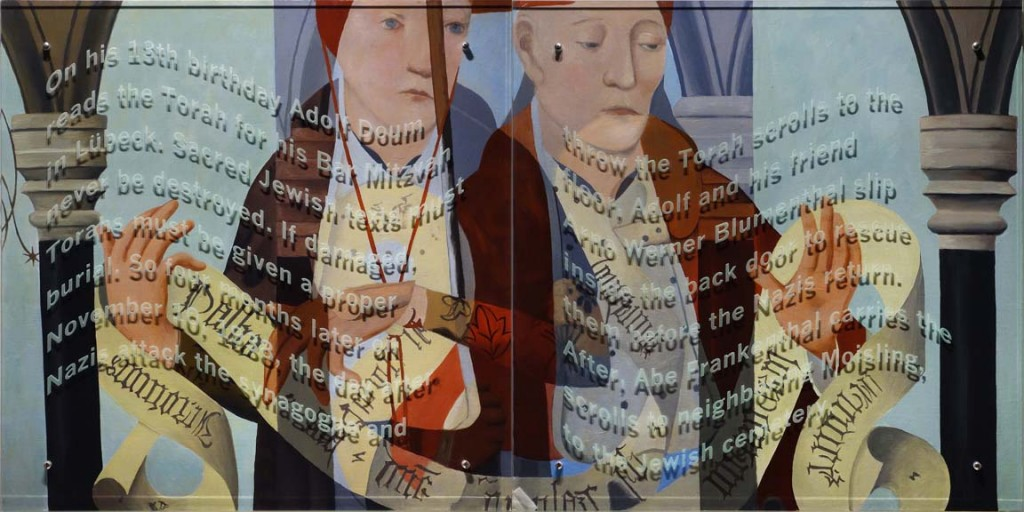Ken Aptekar, On His Thirteenth Birthday, 2015, oil/linen mounted on wood, sandblasted glass, bolts, 100cm x 200cm, (diptych) TEXT: On his 13th birthday Adolf Doum reads the Torah for his Bar Mitzvah in Lübeck. Sacred Jewish texts must never be destroyed. If damaged, Torahs must be given a proper burial. So four months later on November 10, 1938, the day after Nazis attack the synagogue and throw the Torahs to the floor, Adolf and his friend Arno Werner Blumenthal slip inside the back door to rescue the Torahs before the Nazis return. After, Abe Frankenthal carries the scrolls to neighboring Moisling, to the Jewish cemetery.