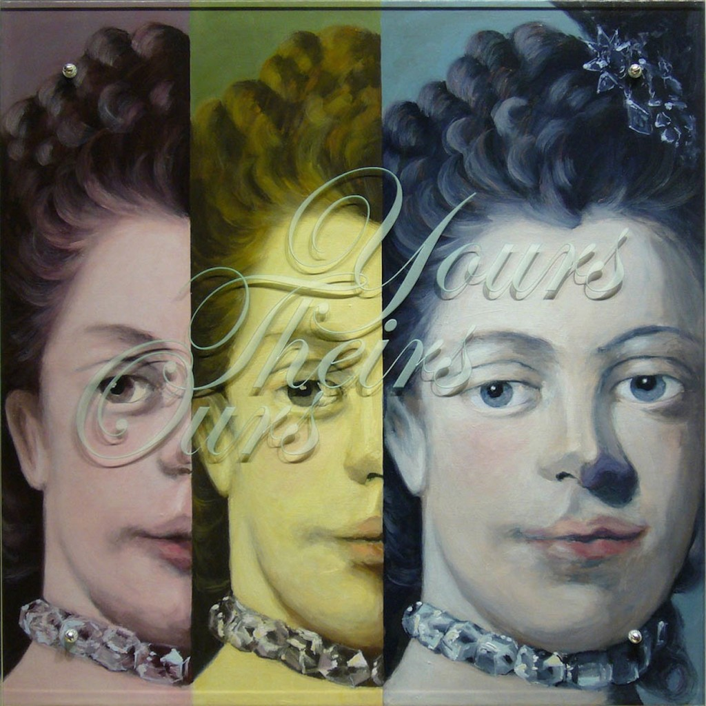"Charlotte's Charlotte (YOURS THEIRS OURS), 2009 36 "" x 36"" (91.4cm x91.4cm), oil on wood, sandblasted glass, bolts, after Sir Allan Ramsay, Coronation Portrait of Queen Charlotte, 1762, Mint Museum of Art, Charlotte, NC Text: YOURS THEIRS OURS This work is one of a series commissioned by the Mint Museum in Charlotte, NC."