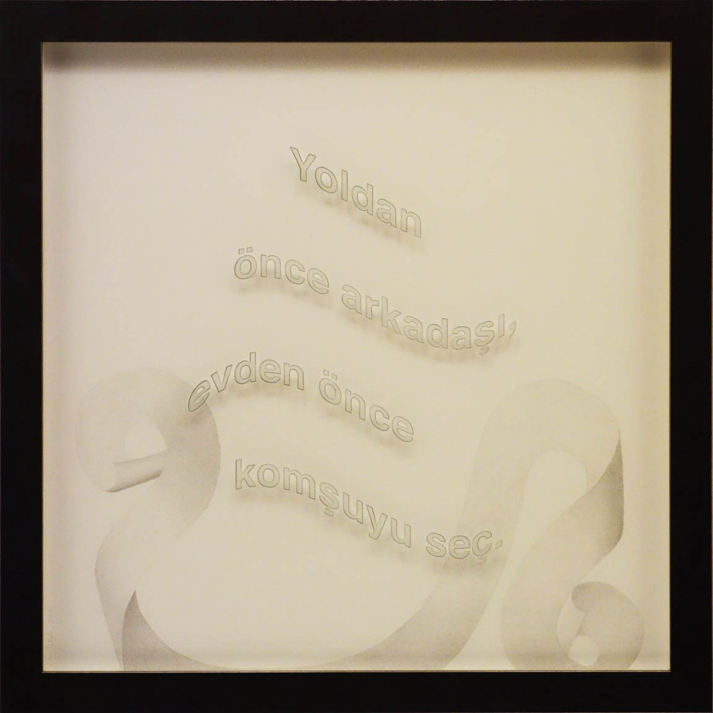 "Ken Aptekar, Yoldan önce arkadaşı, 2015, 60cm x 60cm, silverpoint on clay-coated paper (""Don't choose which house to buy, get a good neighbor."")"