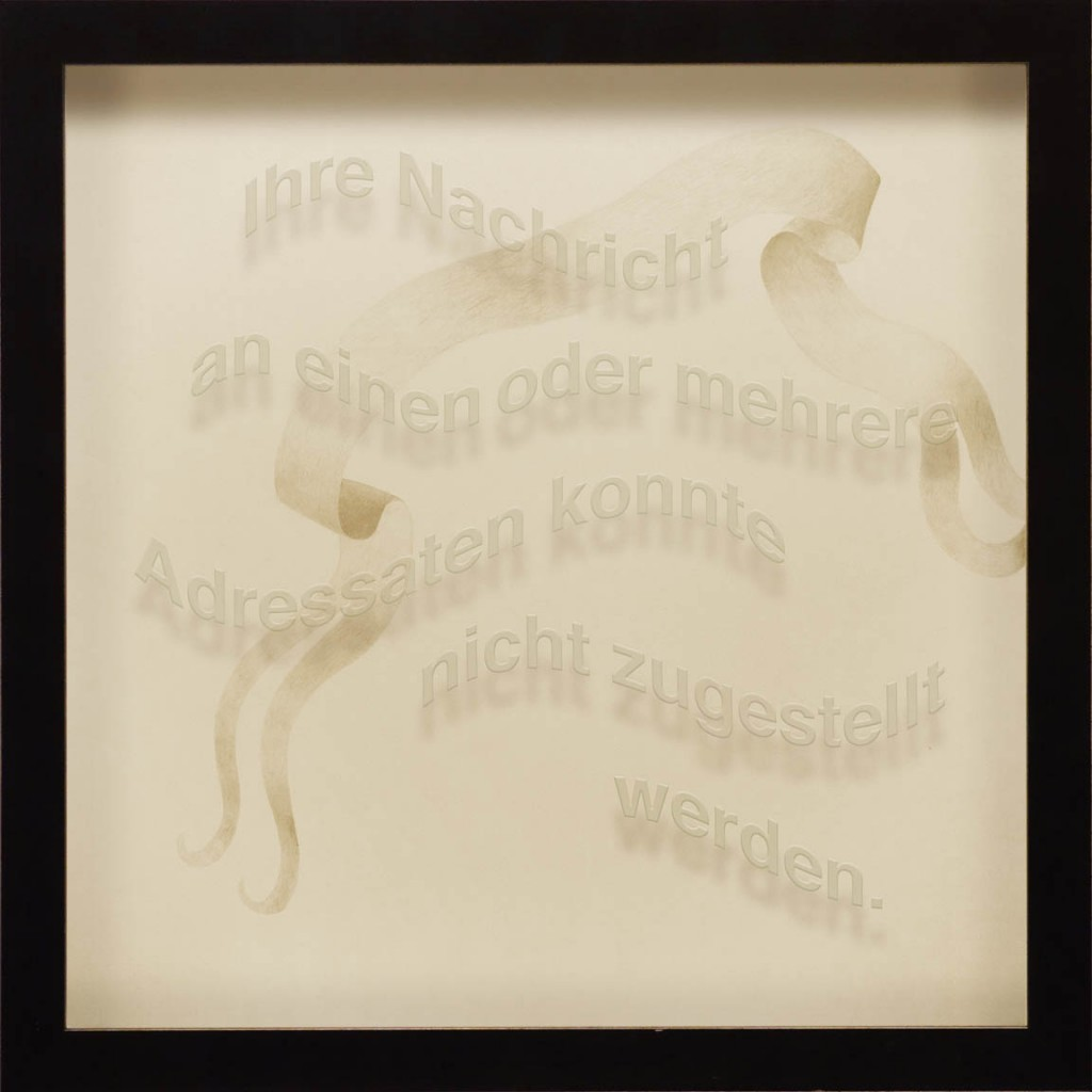 "Ken Aptekar, Ihre Nachricht, 2015, 60cm x 60cm, silverpoint on clay-coated paper (""Your message could not be delivered to one or more of the addresses."")"