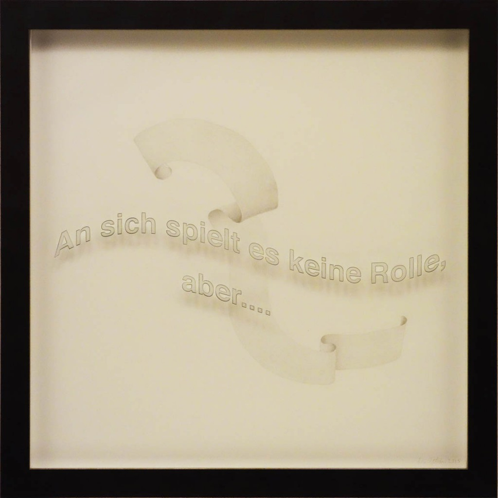 "Ken Aptekar, An sich spielt, 2015, 60cm x 60cm, silverpoint on clay-coated paper (""Not that it matters, but…."")"