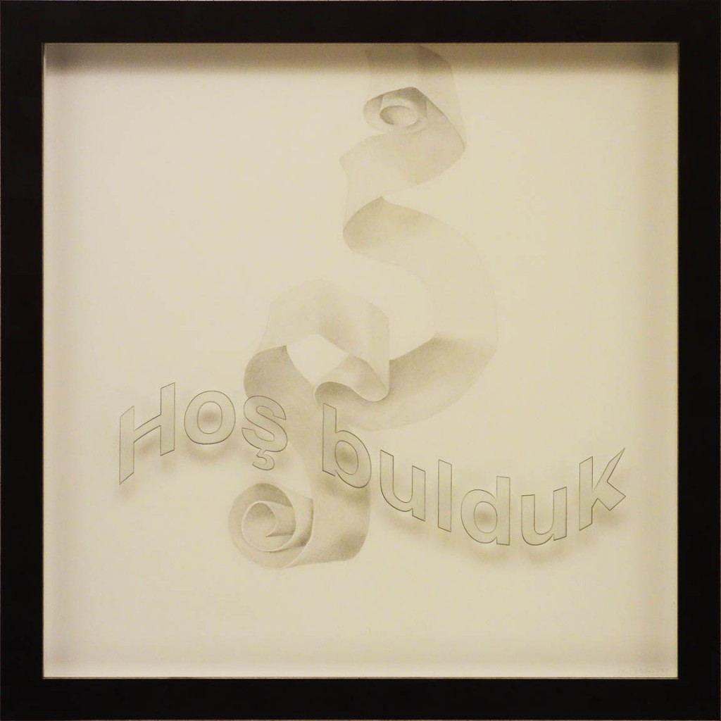 "Ken Aptekar, Hoş bulduk, 2015, 60cm x 60cm, silverpoint on clay-coated paper (""Good to have you!"")"