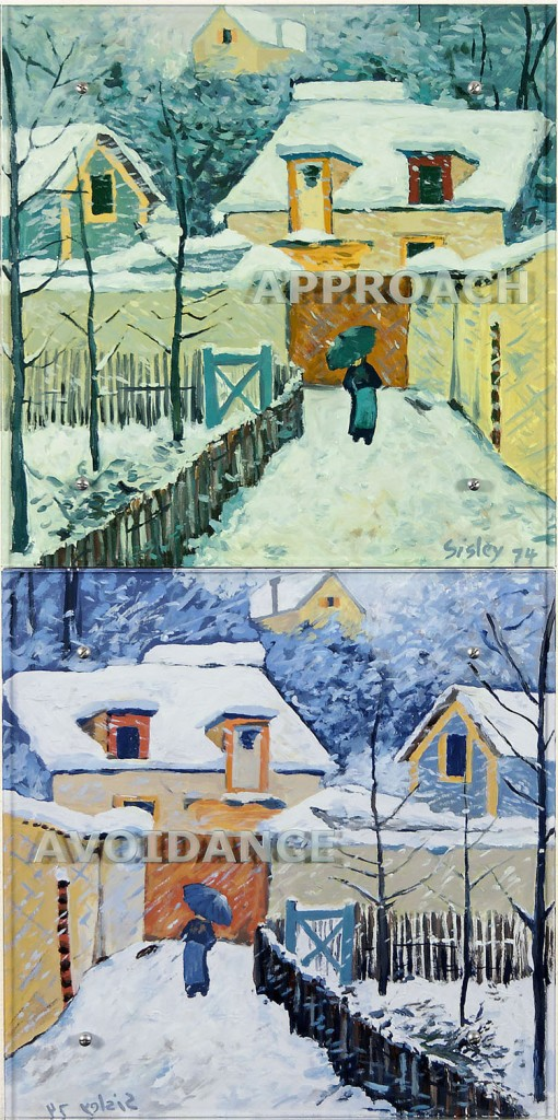 "Ken Aptekar, APPROACH AVOIDANCE, 2006 48"" x 24"" (122cm x 61cm),  diptych, oil on wood, sandblasted glass, bolts  After Alfred Sisley, Snow at Louveciennes, 1874"