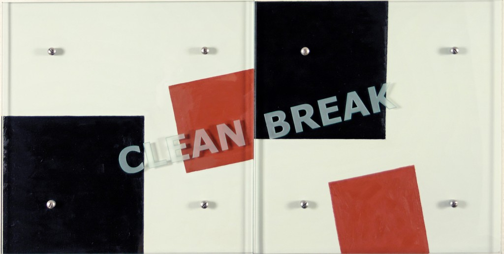 "Ken Aptekar, CLEAN BREAK, 2006 18"" x36"" (45.7cm x 91.5cm),  diptych, oil/wood, sandblasted glass, bolts  After Kasimir Malevich, Black Square and Red Square, 1915"