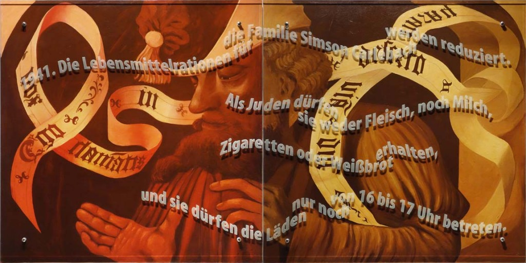 Ken Aptekar, Carlebach Küchentuch #1, 2015, oil/linen mounted on wood, sandblasted glass, bolts, 100cm x 200cm, (diptych), English translation: 1941. Food rations for the Simson Carlebach family are reduced. Jews are not permitted to buy meat, milk, cigarettes, or white bread, and can shop only between the hours of 4PM and 5PM.