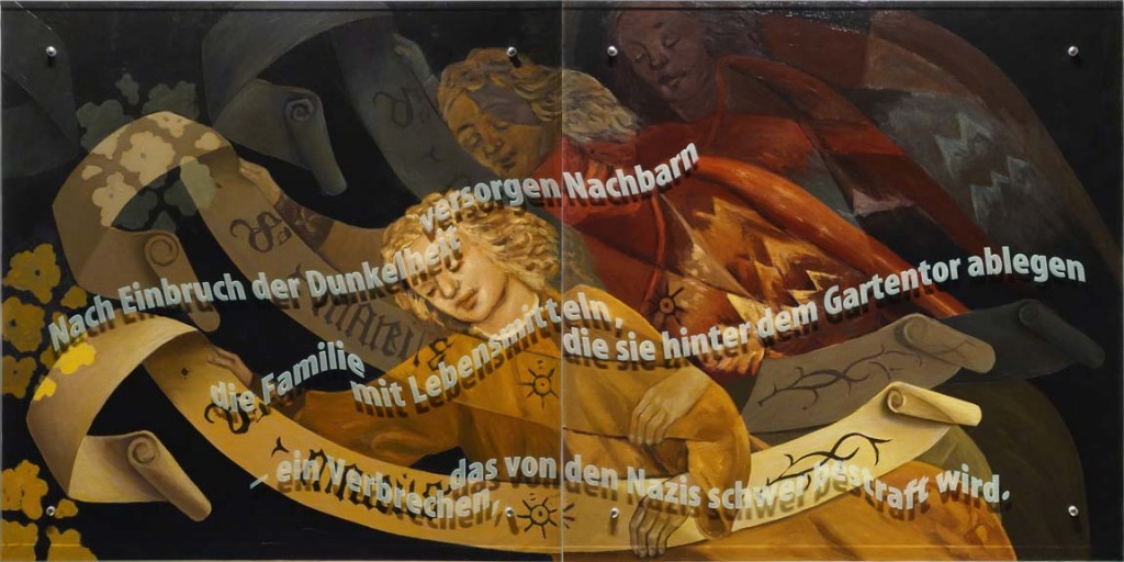 Ken Apekar, Carlebach Küchentuch #2, 2015, oil/linen mounted on wood, sandblasted glass, bolts, 100cm x 200cm, (diptych) English translation: After nightfall, neighbors provide the family with food that they secretly leave inside their garden gate, a crime severely punished by the Nazis.