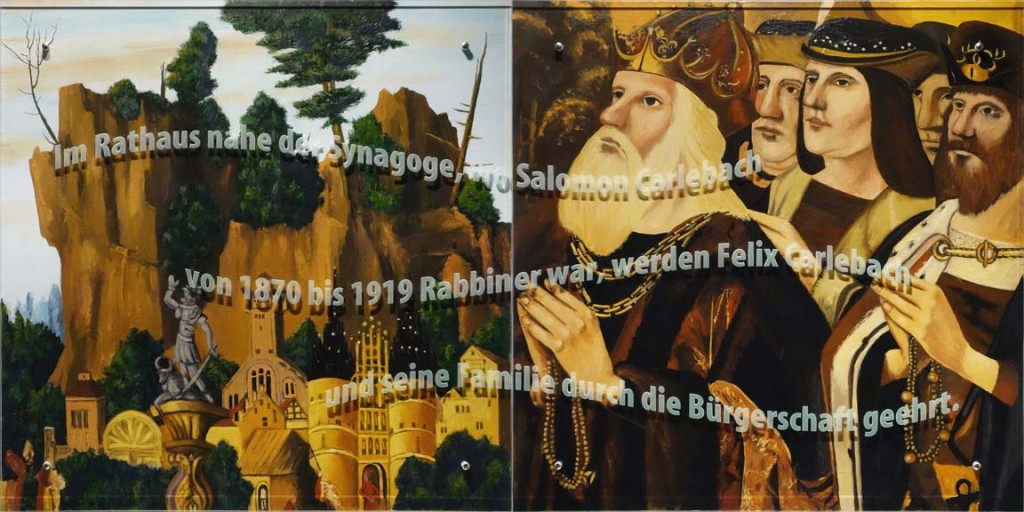 Ken Aptekar, Carlebach Küchentuch #5, 2015, oil/linen mounted on wood, sandblasted glass, bolts, 100cm x 200cm, (diptych) English translation: In the town hall near the synagogue, where Salomon Carlebach was Rabbi from 1870 to 1919, Felix Carlebach and his family are honored by the people of Lübeck.