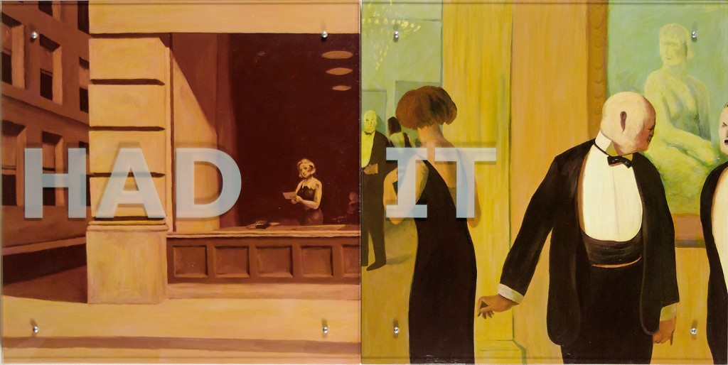"Ken Aptekar, HAD IT, 2006 37"" x 74"" (94cm x 188cm),  diptych, oil on wood, sandblasted glass, bolts  After Edward Hopper, New York Office 1962, Guy Pene du Bois, The Art Lovers, 1922"
