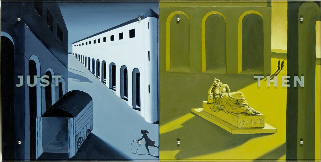 "Ken Aptekar, JUST THEN, 2006 30"" x 60"" (76.2cm x152.4cm),  diptych, oil on wood, sandblasted glass, bolts  After Giorgio di Chirico, Mystery and Melancholy of a Street, 1914  Giorgio di Chirico, Melanconia, 1912"
