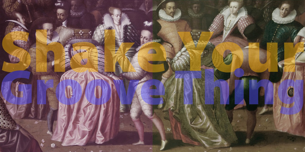 "SHAKE YOUR GROOVE THING, 30"" x 60"" (76cm x 152.5cm) diptych, after anonymous French artist, XVI century, Bal a la cour d'Henri II, (Ball at the court of Henry II) , Paris, Louvre; TEXT: ""Shake Your Groove Thing,"" Dino Fekaris & Freddie Perren, 1978, on Peaches & Herb album, ""2 Hot"""