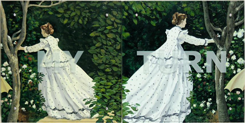 "Ken Aptekar, MY TURN, 2006 30"" x 60"" (76.2cm x 152.4cm),  diptych, oil on wood, sandblasted glass, bolts  After Claude Monet, Women in the garden, 1867"