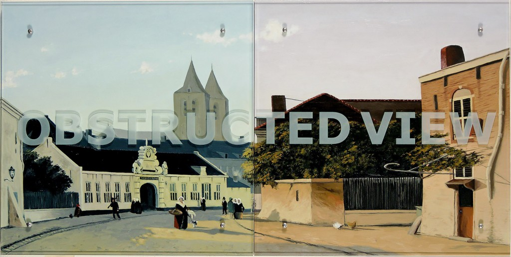 "Ken Aptekar, OBSTRUCTED VIEW, 2006, 30"" x 60"" (76.2cm x 152.4cm),  diptych, oil on wood, sandblasted glass, bolts  After Jan Weissenbruch, View of the St. Catharine-Gasthaus in Arnhem, c. 1850"