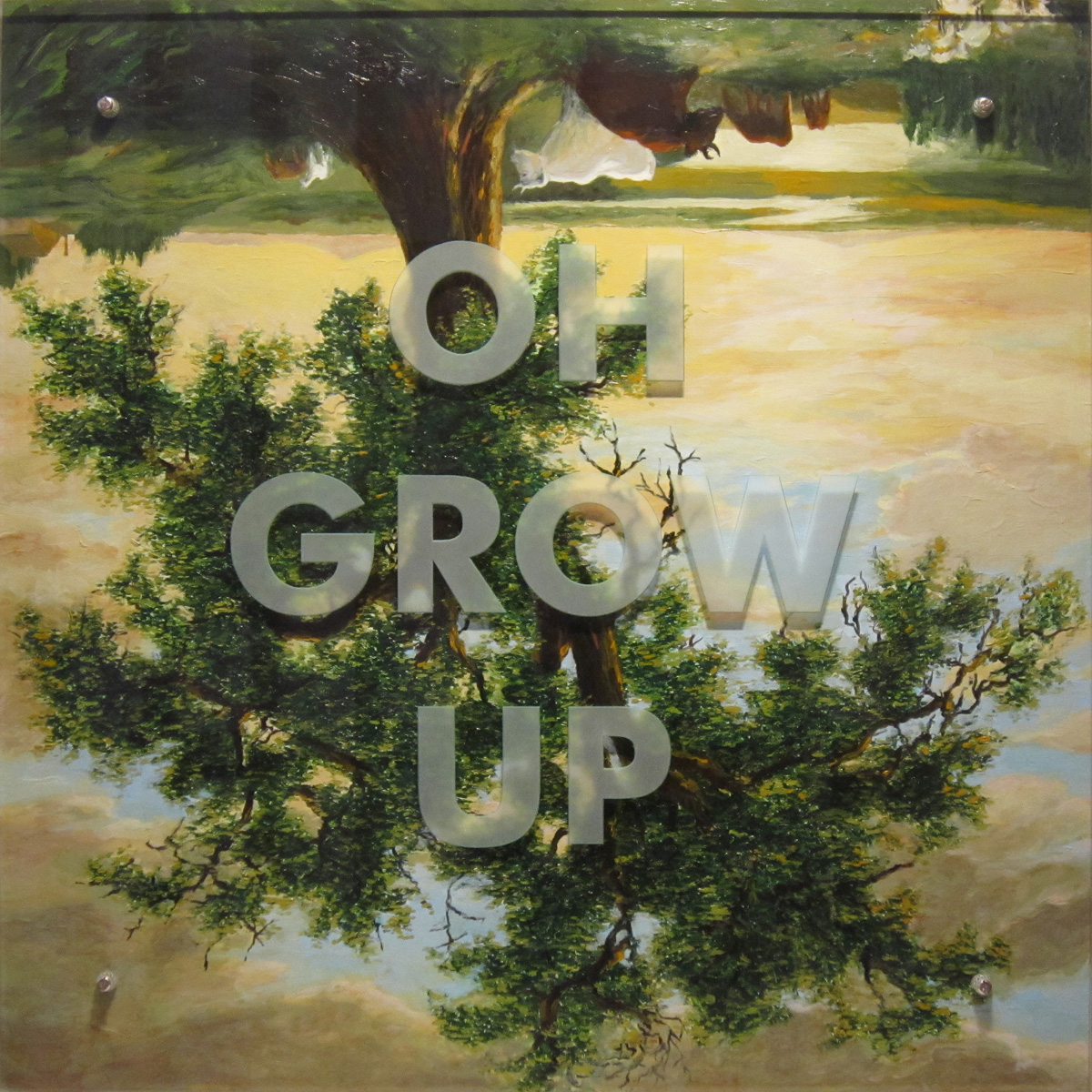 "Ken Aptekar, OH GROW UP, 2011, 35"" x 35"", oil/wood, sandblasted glass, bolts After Asher Durand, The Solitary Oak (The Old Oak), 1844, NY Historical Society"