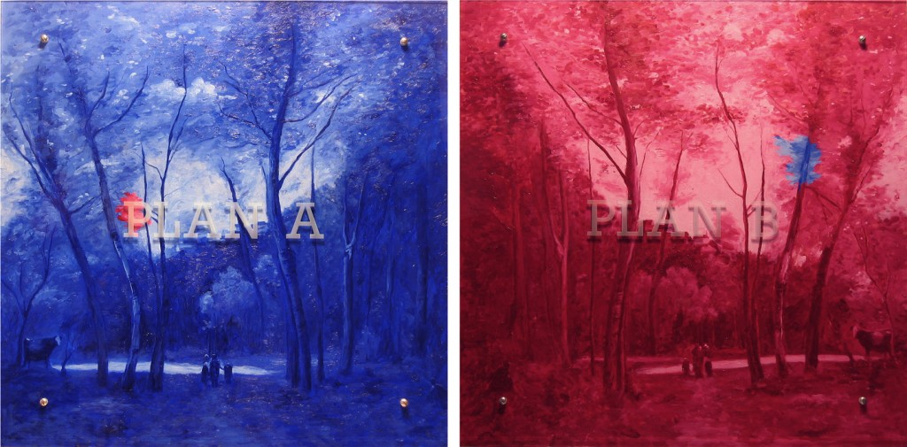"Ken Aptekar, PLAN A, PLAN B  35"" x 70"" (89cm x 178cm), diptych, oil on wood, sandblasted glass, bolts  After Jean-Baptiste Corot, Souvenir d'un pré à Brunoy, 1855-65"