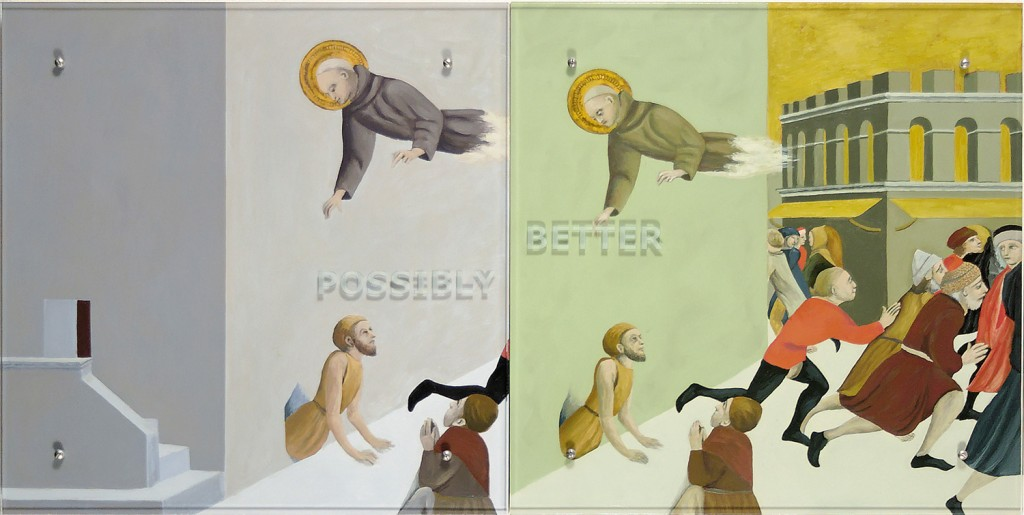"Ken Aptekar, POSSIBLY BETTER, 2006 30"" x 60"" (76.2cm x 152.4cm),  diptych, oil on wood, sandblasted glass, bolts  After Stefano di Giovanni, known as ""Sasetta,""  St. Ranieri delivering the poor from a prison in Florence, c. 1437-1444"