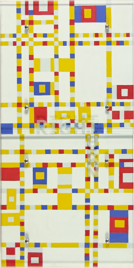 "RIGHT TURN, 2006 36"" x 18"" (91.5cm x 45.7cm),  diptych, oil on wood, sandblasted glass, bolts  After Piet Mondrian, Broadway Boogie Woogie, 1942-1943"