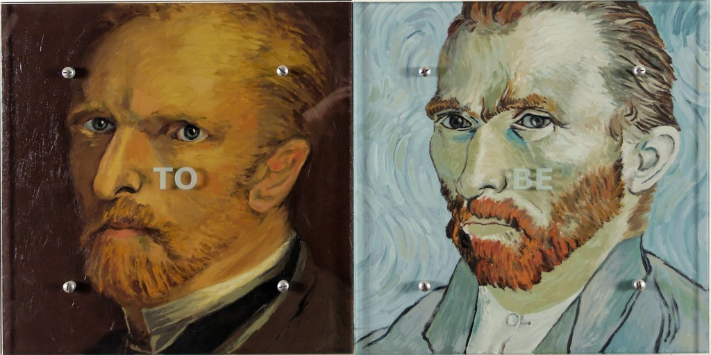 "Ken Aptekar, TO BE, 2006 18"" x 36"" (45.7cm x 91.5cm),  diptych, oil on wood, sandblasted glass, bolts  After Vincent Van Gogh, Self-portrait, 1886, Vincent Van Gogh, Self-portrait, 1889"