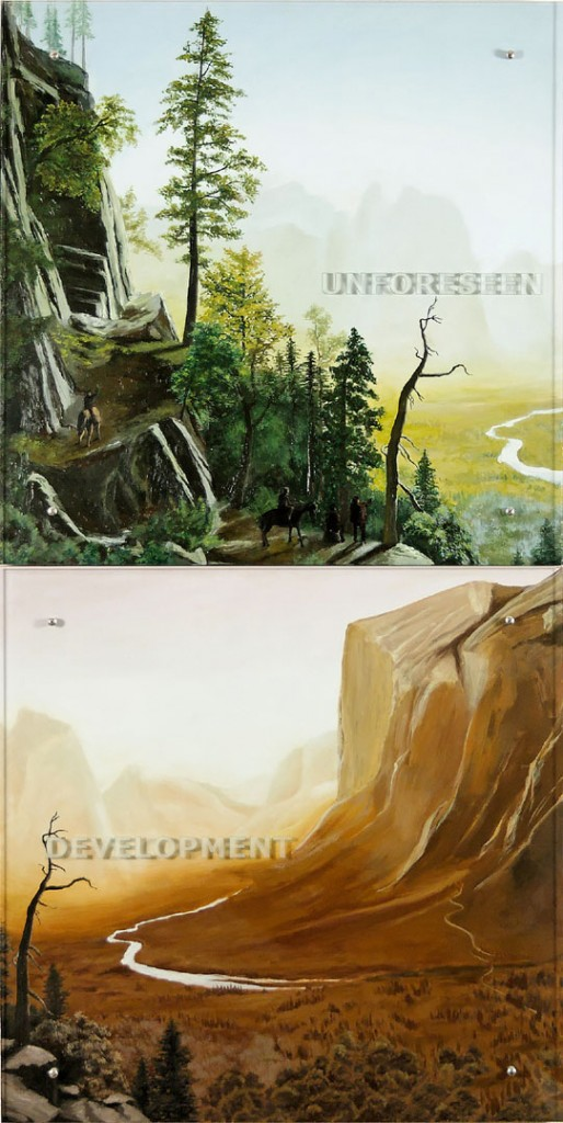 "Ken Aptekar, UNFORESEEN DEVELOPMENT, 2006 37"" x 74"" (94cm x 188cm),  diptych, oil on wood, sandblasted glass, bolts  After Albert Bierstadt, Yosemite Valley,  Glacier Point Trail, c. 1873"