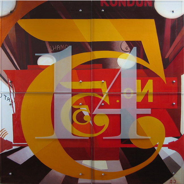 "Ken Aptekar, I saw the figure 14 in gold, 2005 60"" x 60"" (153cm x 153cm), oil on wood, sandblasted TEXT: 14"