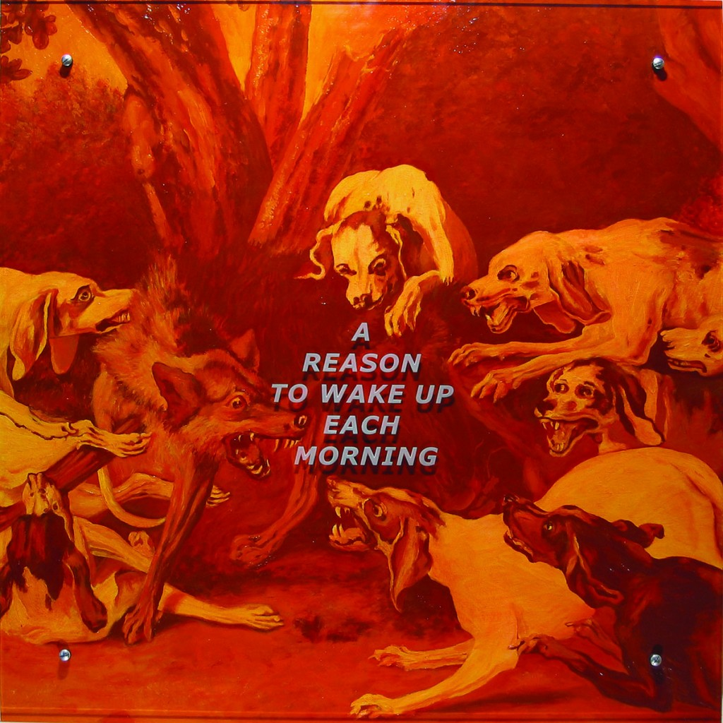 "Ken Aptekar, A reason to wake up each morning, 2005 37"" x37"" (94cm x 94cm), oil on wood, sandblasted glass, bolts After Jean-Baptiste Oudry, Chasse au loup, 1734"