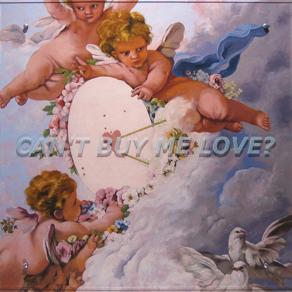 "Ken Aptekar, Can't buy me love? 2005 37"" x 37"" (94cm x 94cm), oil on wood, sandblasted glass, bolts After François Boucher, La cible d'amour, 1758"