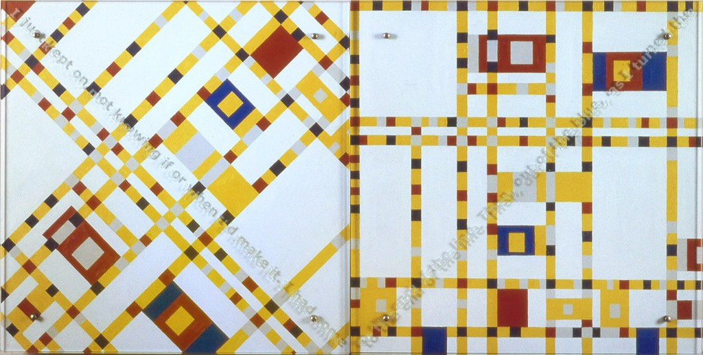 "Ken Aptekar, I just kept on, 35"" x70"" diptych, oil/wood, sandblasted glass, bolts, after Piet Mondrian, Broadway Boogie Woogie, 1942-3, Museum of Modern Art, NY TEXT: I just kept on, not knowing if or when I'd make it. I had come to the end of the line. Then, out of the blue, as I turned the"