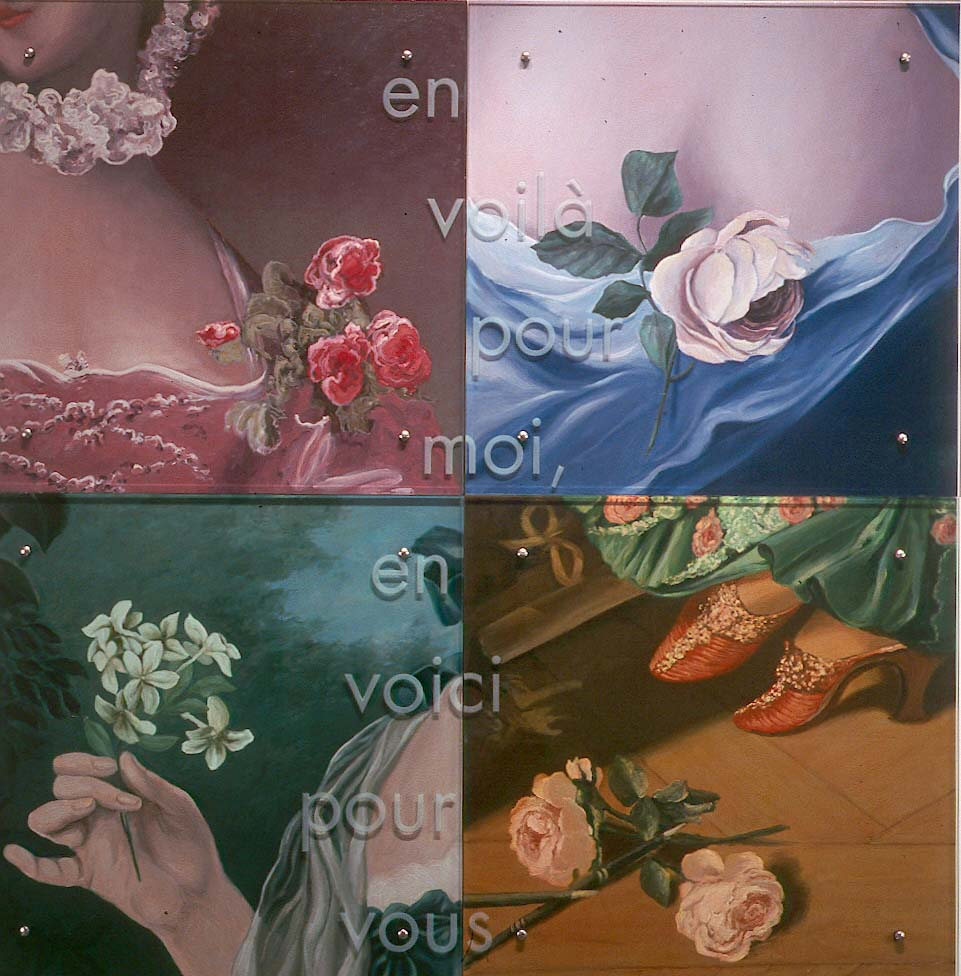 "En voila pour moi, en voici pour vous (""some for me, some for you"") 60"" x 60"" (153cm x 153cm), oil/wood, sandblasted glass, bolts After details of three portraits of Mme de Pompadour by Francois Boucher and Carl van Loo, and a portrait of Manon Balletti by Jean-Marc Nattier (upper-right) TEXT: En voila pour moi, en voici pour vous [tr.: Some for me, some for you]"