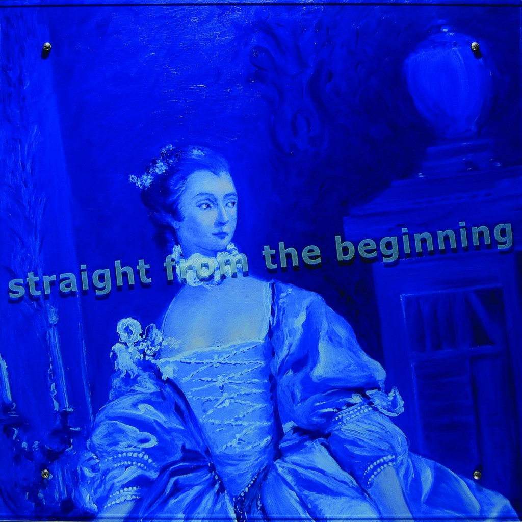 "Ken Aptekar, Straight from the beginning, 2005 37"" x 37"" (94cm x 94cm), oil on wood, sandblasted glass, bolts After François Boucher, Portrait en pied de la marquise de Pompadour, 1750 TEXT: straight from the beginning"