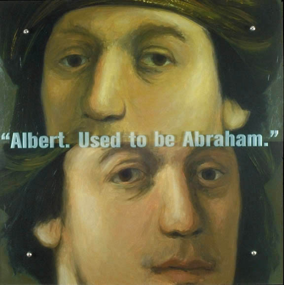 "Albert. Used to be Abraham, 30"" x 30"" (76.5cm x 76.5cm), oil on wood, sandblasted glass, bolts After Isaack Jouderville (student of Rembrandt), Portrait of a man in a turban, 1630-1"
