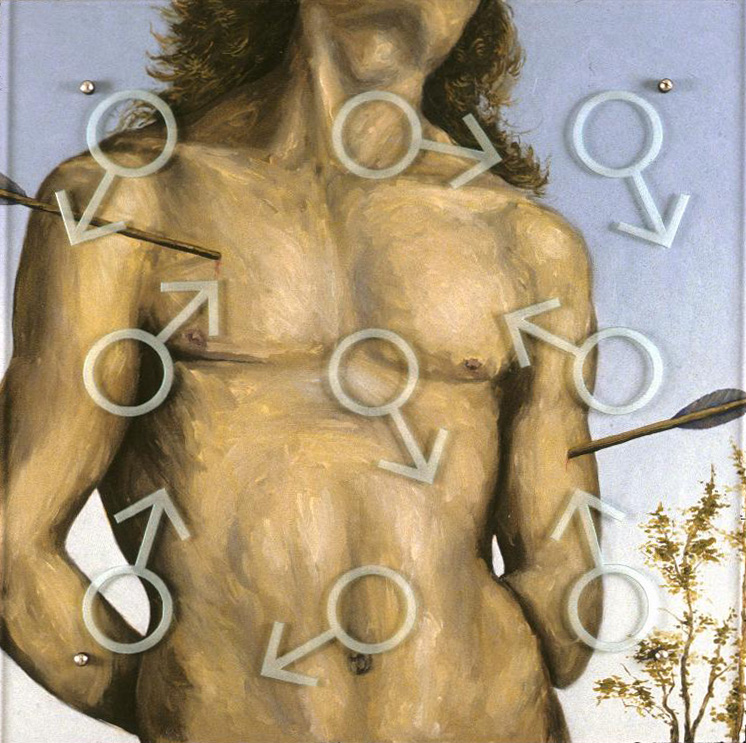 "Arrows, 30"" x 30"" oil on wood, sandblasted glass, bolts After Pietro di Cristoforo Vannucci (called Perugino), St. Sebastian, 1490-1500"