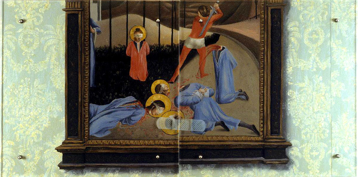 "Bandaid, 30"" x 60"" (76.5cm x 76.5cm), oil on wood, sandblasted glass, bolts After Fra Angelico, The martyrdom of Saints Cosmas and Damian, between 1438-1443"