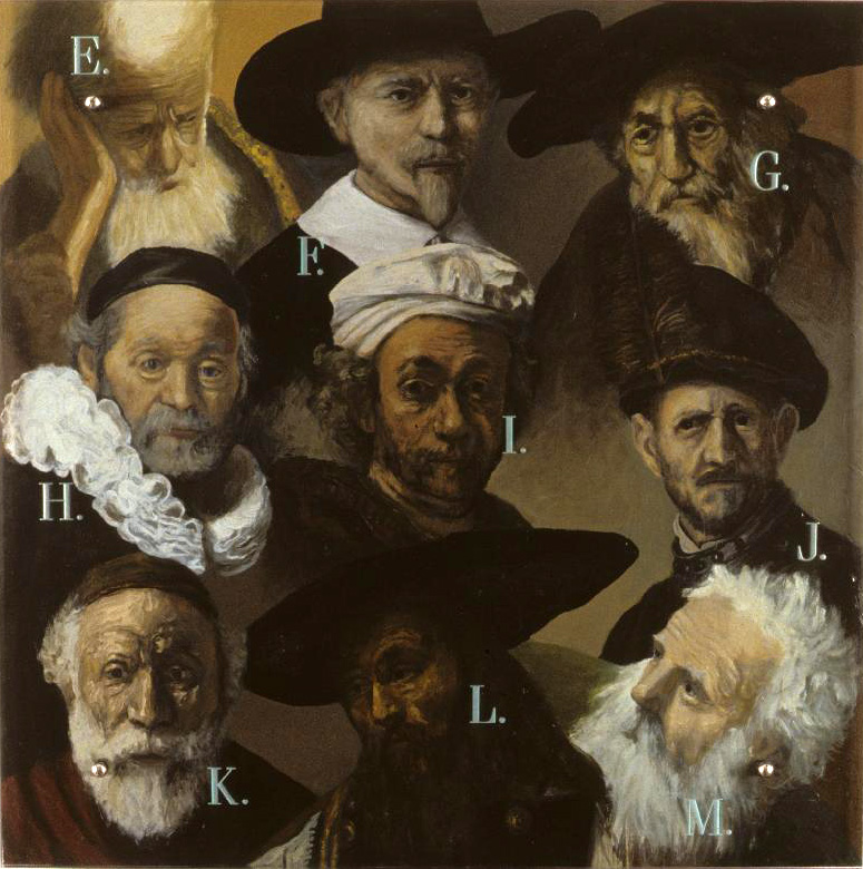 "Catalogue, 30"" x 30"" (76.5cm x 76.5cm) oil on wood, sandblasted glass, bolts Faces in this painting are all taken from works by Rembrandt van Rijn; in the center (with ÒIÓ next to it) is RembrandtÕs own from the self-portrait of 1660 in the Musee du Louvre."