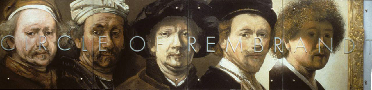 "Circle of Rembrandt, 30"" x 120"" (76.5cm x 306cm) four panels, oil on wood, sandblasted glass, bolts   After (all authenticated works by Rembrandt) l-r: Self-portrait, 1669 Self-portrait, 1660 Self-portrait, 1652 Self-portrait, c. 1638 Self-portrait, c. 1628 (This work is generally accepted to be RembrandtÕs first self-portrait.)"