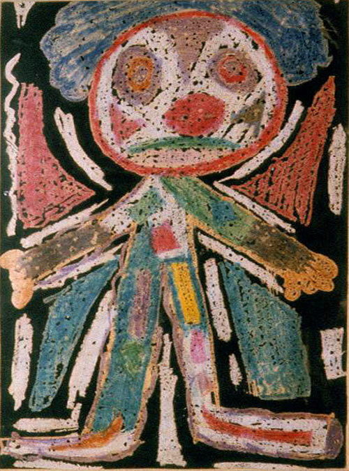 Clown, 1955, Crayon resist/tempera