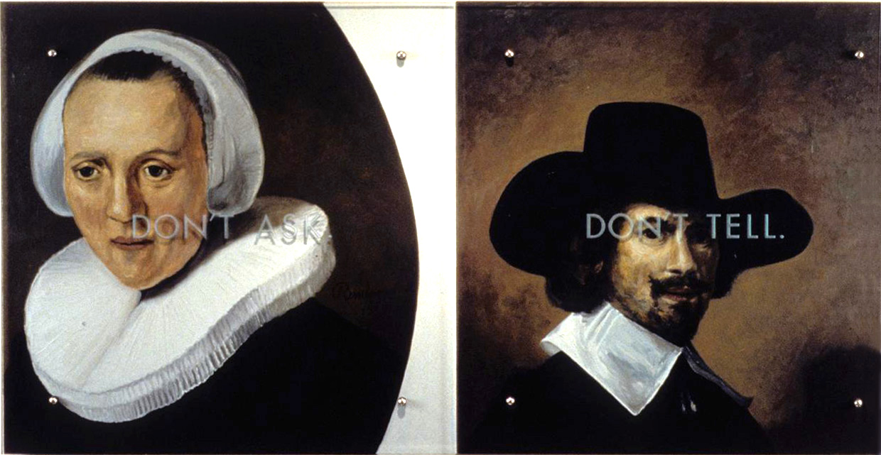 "Don't Ask. Don't Tell. 30"" x 60"" (76.5cm x 76.5cm) diptych, oil on wood, sandblasted glass, bolts After: Left, Rembrandt van Rijn (Dutch, 1606-1669) Woman in a Ruff Collar and White Cap Right, Carel Fabritius (Dutch, 1622-1654) Portrait of a Man, c. 1640"