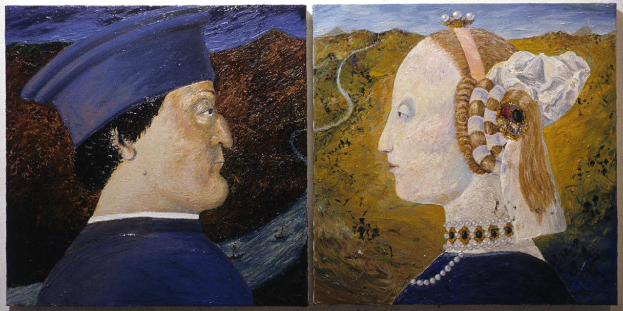 "Duke & Duchess, 1985, 24"" x 48"" (61cm x 122cm), oil on canvas"