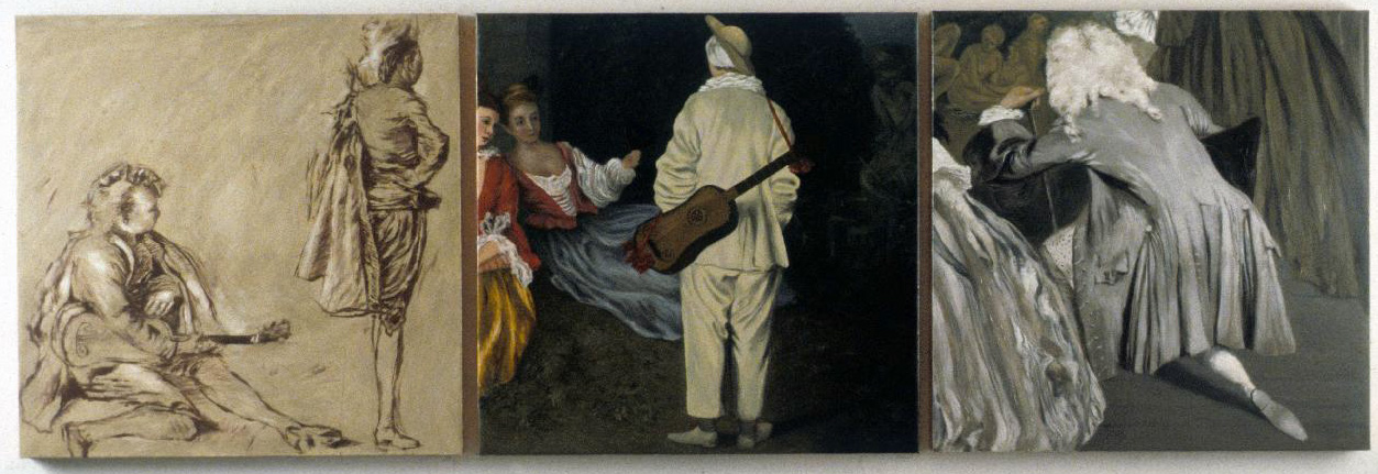 "From Behind, 30"" x 90"" Triptych, oil on copper After Antoine Watteau, including a drawing, one of the fetes galantes, and The Shopsign of Gersaint"
