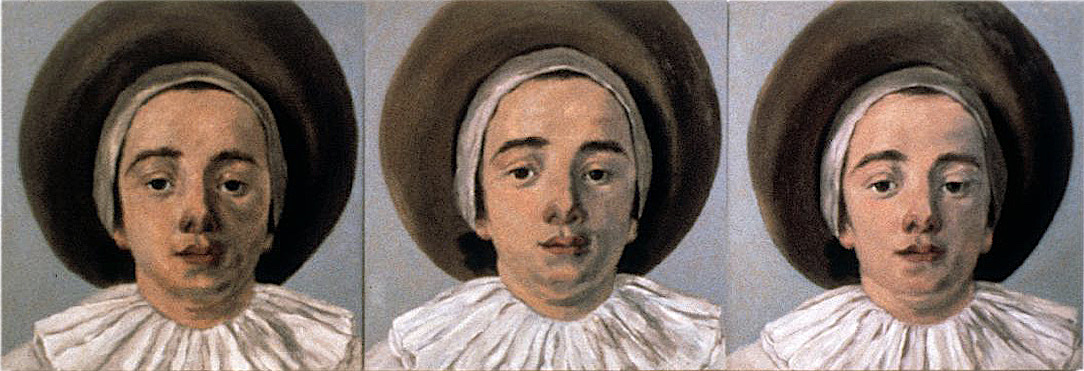 "Gilles, Gilles, Gilles, 30"" x 90"" (76.5cm x 229.5cm) triptych, oil on wood After Antoine Watteau, Gilles, 1721"