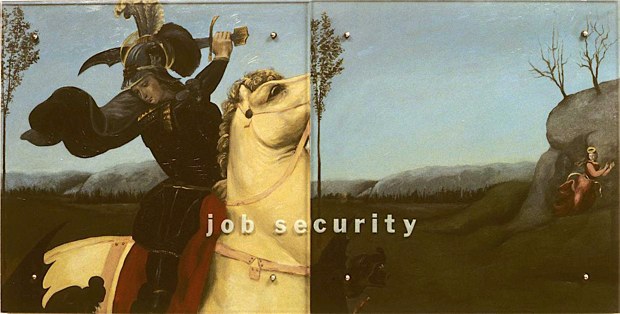 "Job Security, 30"" x 60"" (76.5cm x 76.5cm) Diptych, oil on wood, sandblasted glass, bolts After Raphael, Saint George Fighting the Dragon, 1505"
