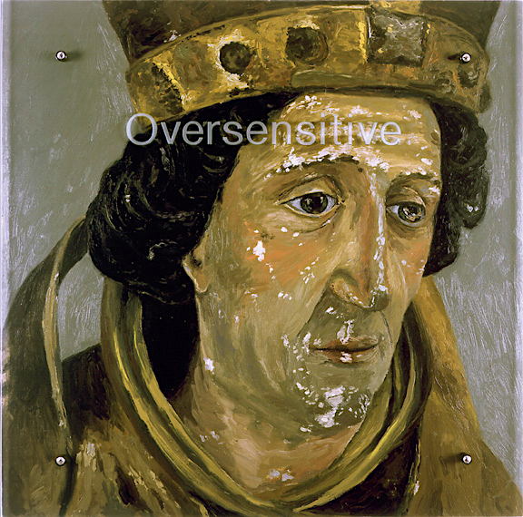 "Oversensitive, 30"" x 30"" (76.5cm x 76.5cm)oil on wood, sandblasted glass, bolts After polychromed wood sculpture of a bishop (before restoration), Tyrolian, 15th century, Paris, Musee du Louvre"