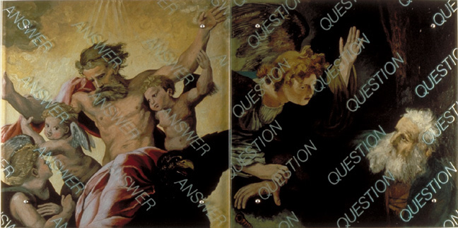 "Answers, Questions, 30"" x 60"" (76.5cm x76.5cm), oil on wood, sandblasted glass, bolts After Raphael, Vision of Ezekiel, c. 1518 Rembrandt, The angel stopping Abraham from sacrificing Isaac to God, 1635"