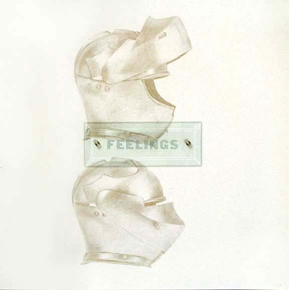 "Feelings, 20"" x 20"" (51cm x 51cm) silverpoint on paper, sandblasted glass, bolts"