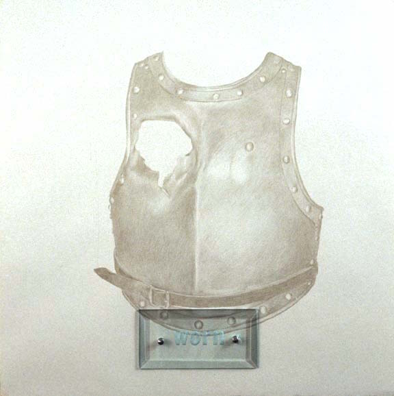 "Worn, 20"" x 20"" (51cm x 51cm) silverpoint on paper, sandblasted glass, bolts"